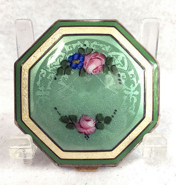 Vintage compact a Louise Andr\u00e9 blushrouge Green enamel compact with mirror 1920s