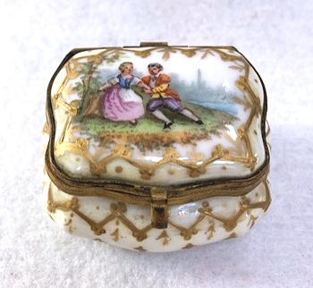 Vintage Glass Trinket Bowl With Lid Gold Embellishment